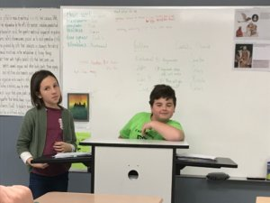 Two students reenacting Galileo's trial