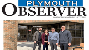 Plymouth Observer heading with a picture of Ivywood's four board members underneath